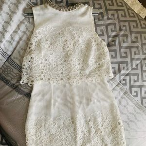 White Crotchet Floral Dress with Beaded Neckline